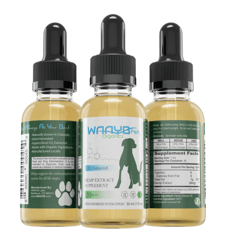 WAAYB Organics CBD Oil for Pets all three sides of the bottle