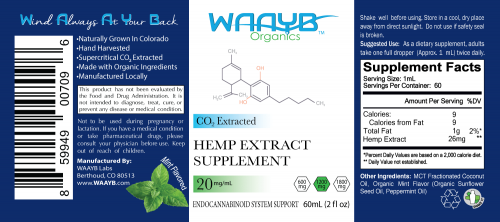 WAAYB Organics 1200mg Mint CBD Oil