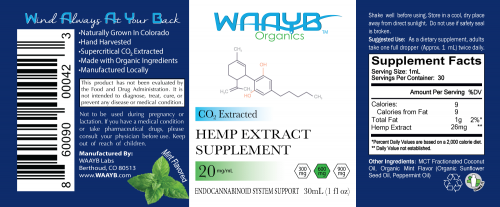 WAAYB Organics 600mg Mint CBD Oil