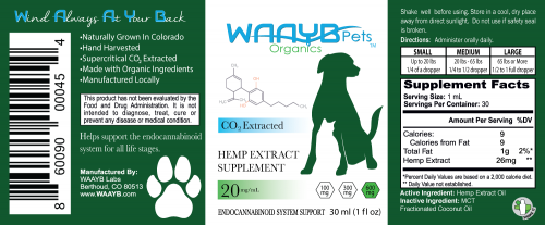 WAAYB Organics 600mg CBD Oil for Pets