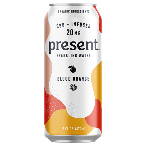 Present Blood Orange CBD Infused sparkling Water
